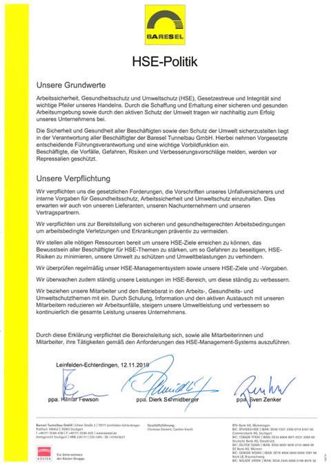 Health, Safety- and Environment-Politik der Baresel Tunnelbau GmbH